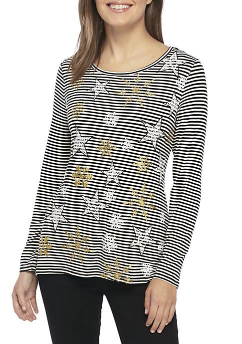 Kim Rogers® Petite Snowflake Striped Knit Top