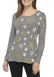 Petite Snowflake Striped Knit Top