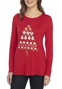 Petite Christmas Tree Knit Top