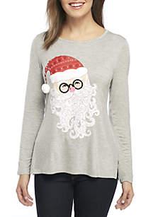 Petite Santa Front Knit Top