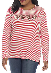 Plus Size Reindeer Row Striped Tee