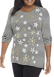 Plus Size Snowflake Striped Tee