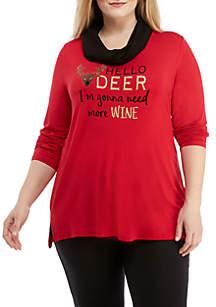 Plus Size Christmas Hello Deer Shirt
