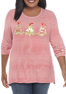 Plus Size Christmas Tree Striped Tee