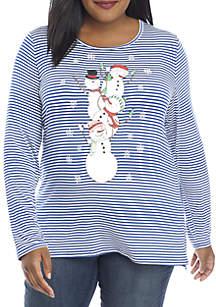 Plus Size Christmas Striped Snowman Knit Top