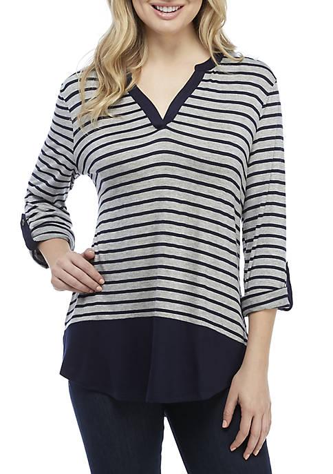 Kim Rogers® 3/4 Roll-Tab Sleeve Colorblock Henley Top