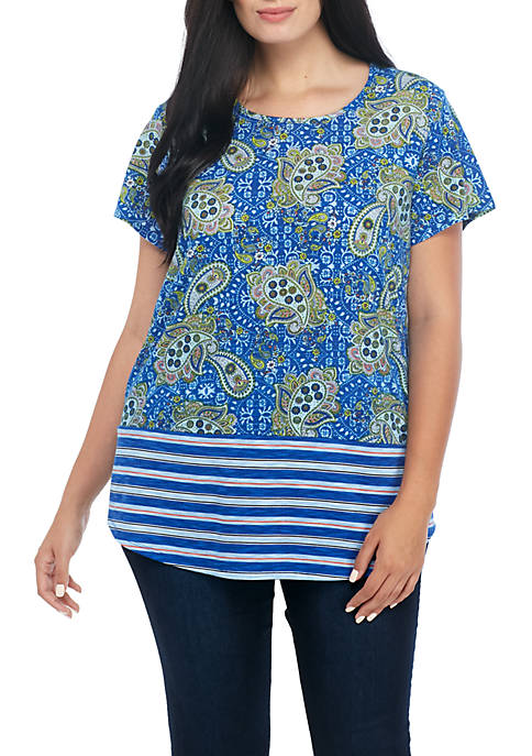 Kim Rogers® Plus Size Short Sleeve Paisley Striped
