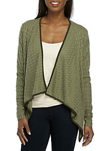 Drape Cardigan with Piping