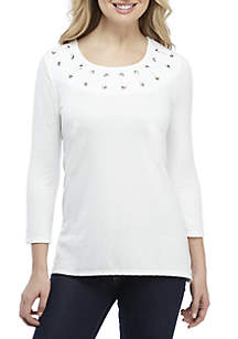 Grommet Neck Textured Top