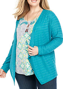 Plus Size Textured 3Fer with Necklace