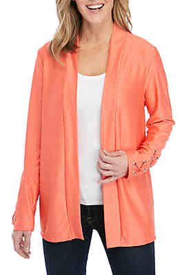 60113f3bcd1 Kim Rogers® Textured Cardigan with Grommet Trim ...