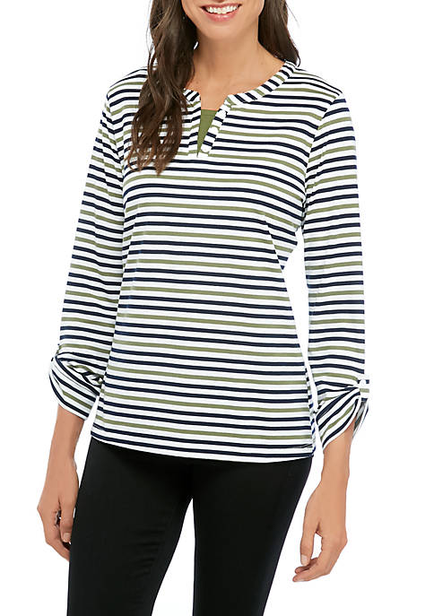 Kim Rogers® Womens Striped Split Neck Top with