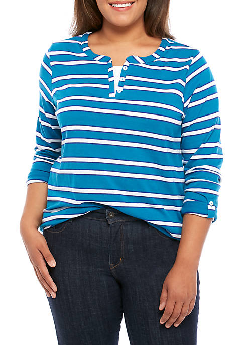 Kim Rogers® Plus Size Split Neck Stripe T-Shirt