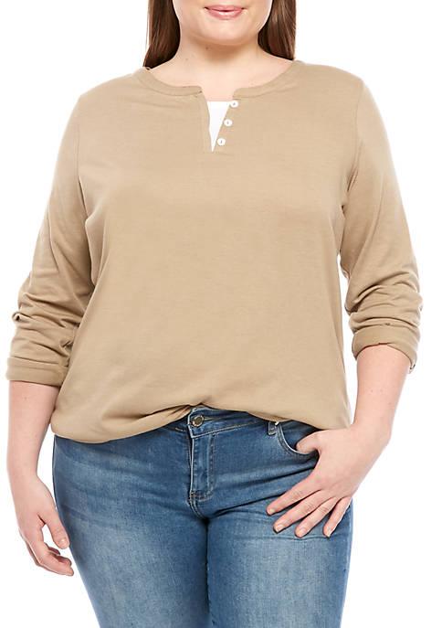 Kim Rogers® Plus Size Split Neck Solid Top