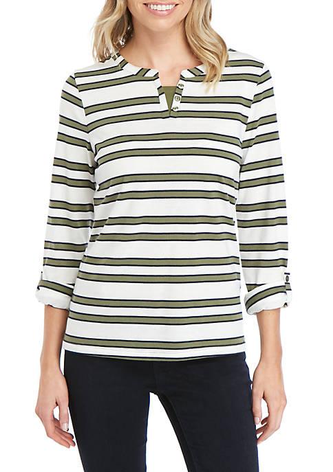 Kim Rogers® Petite 3/4 Sleeve Split Neck Stripe