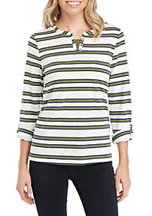Kim Rogers® Petite 3/4 Sleeve Split Neck Stripe T Shirt