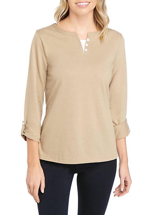 Petite 3/4 Sleeve Split Neck T-Shirt