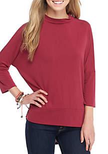 3/4 Sleeve Mockneck Knit High Low Top