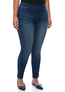 Plus Size Lace-Up Jeans