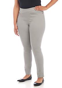 Plus Size Pull-On Slim Leg Pants