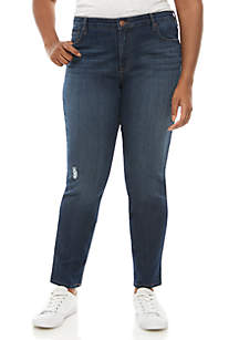 Plus Size Destructed Skinny Jeans