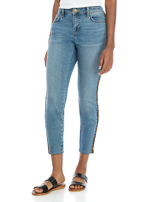 Side Animal Trim Jeans