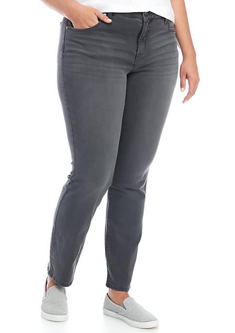 New Directions 174 Plus Size Straight Leg Jeans Short Belk