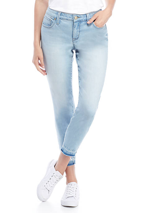 New Directions® Raw Hem Ankle Length Jeans