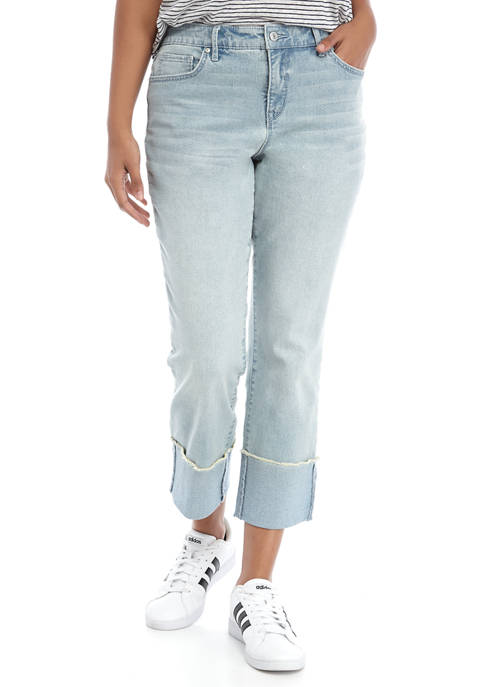 Womens Wide Cuff Slim Straight Jeans