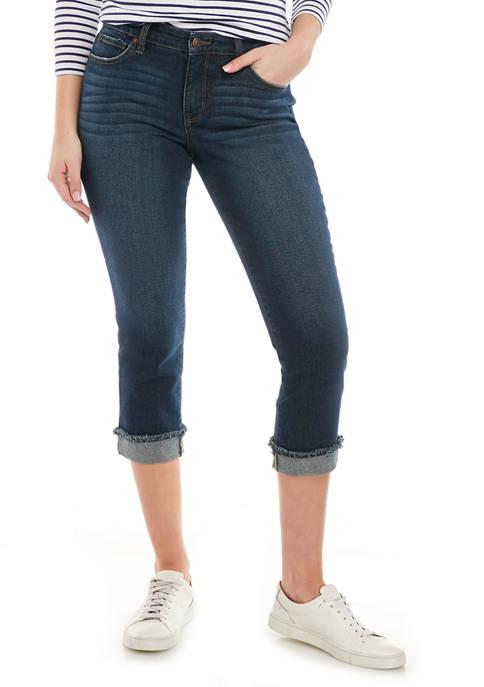 Womens Raw Hem Girlfriend Jeans