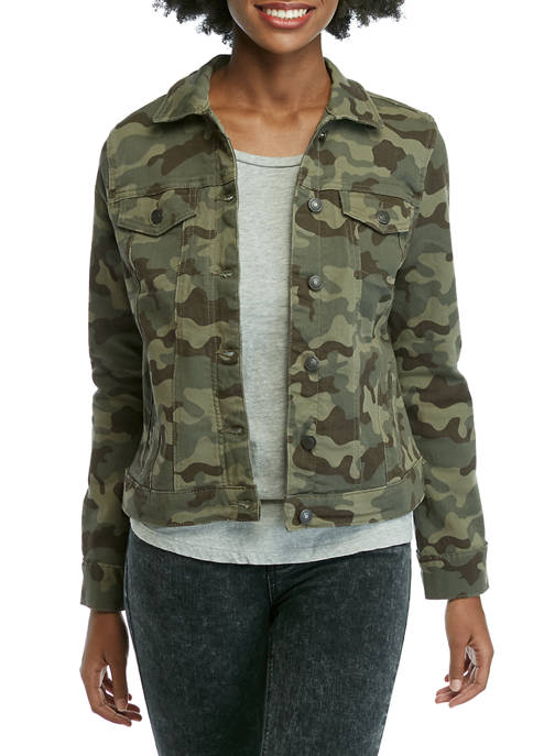 New Directions® Womens Camouflage Jean Jacket