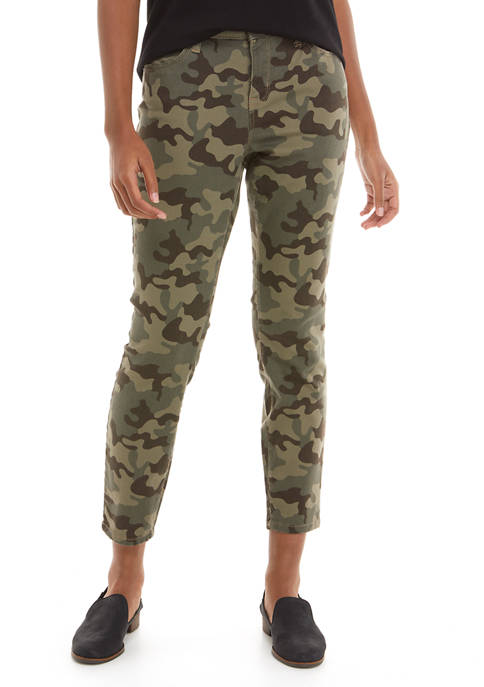 New Directions® Womens Camouflage Mid Rise Skinny Ankle