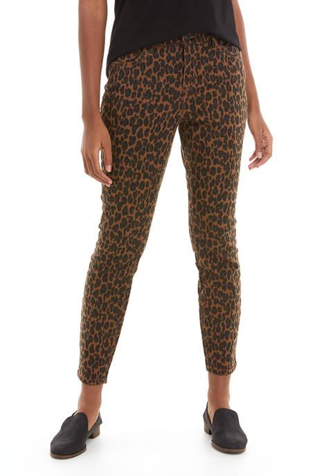 New Directions® Womens Cheetah Print Mid Rise Skinny