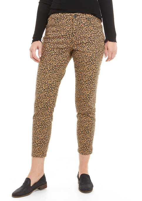 New Directions® Womens Leopard Print Mid Rise Skinny