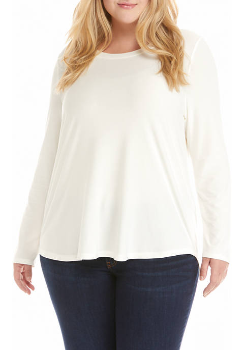 Pink Rose Plus Size Long Sleeve Shirt