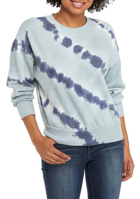 Pink Rose Tie Dye Fleece Crew Neck Pullover
