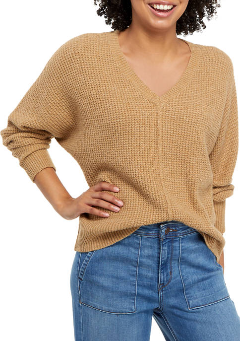 Juniors Seam Front V-Neck Mossy Sweater