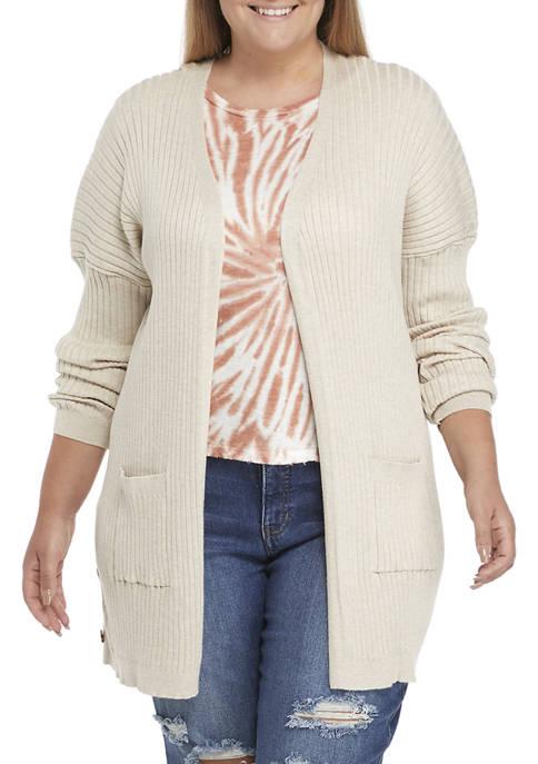 Plus Size Long Drop Shoulder Sleeve Cardigan
