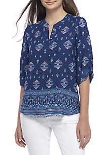 Three-Quarter Sleeve Medallion Print Woven Top