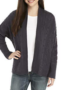 Cable Knit Lace-Up Cardigan