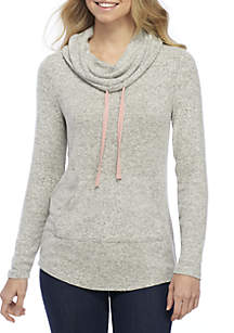 Pink Rose Hacci Cowl Neck Sweater With Pocket
