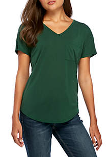 Short Sleeve Cupro V-Neck Shirttail Hem Tee