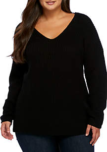 Plus Size Long Sleeve Cross Back Side Slit Tunic