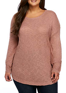 Plus Size Long Drop Shoulder Round Hem Sweater