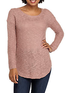 Slub Drop Sleeve Shirttail Hem Sweater