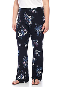 Plus Size Printed Peach Flare Pants