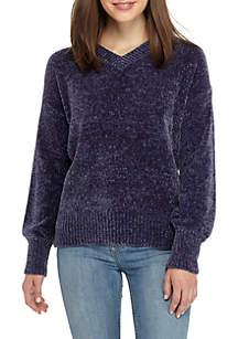 V-Neck Chenille Sweater