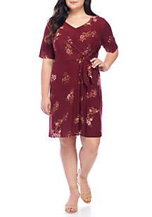 Plus Size Faux Wrap V-Neck Dress