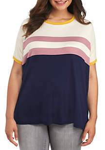 Plus Size Short Sleeve Stripe Chest Ringer Tee