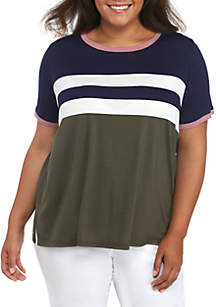 Short Sleeve Stripe Chest Ringer Tee
